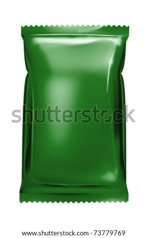 green aluminum foil bag package with zigzag trim - stock photo