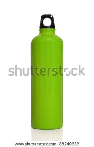 Green aluminum reusable water bottle isolated on a white background. - stock photo