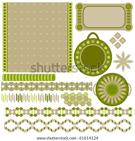 Green and beige tags and trims collection over white
