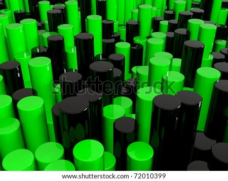 Green and black cylinders background