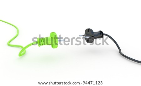 Green and black electric plug isolated on white background, 3D images - stock photo
