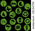 Green and black grunge eco buttons (JPG); a vector version is also available - stock photo