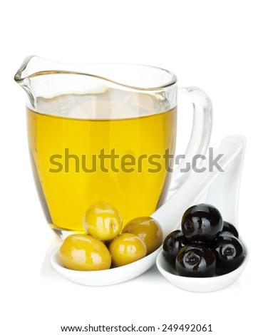 Green and black olives and olive oil. Isolated on white background - stock photo
