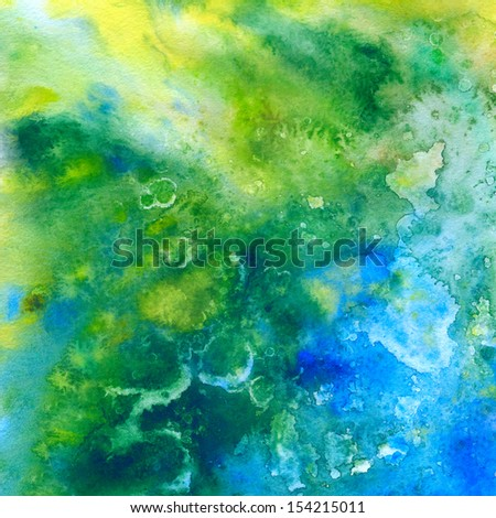 Green and blue abstract watercolor background, scanned in high resolution - stock photo