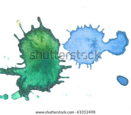 green and blue abstract watercolor background splash design - stock photo