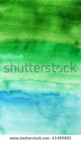 Green and blue background. Green watercolor structure. - stock photo