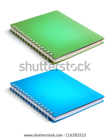 Green and blue color Cover Note Book - stock photo