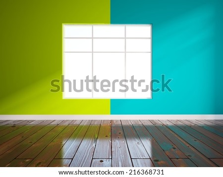 green and blue empty interior - stock photo