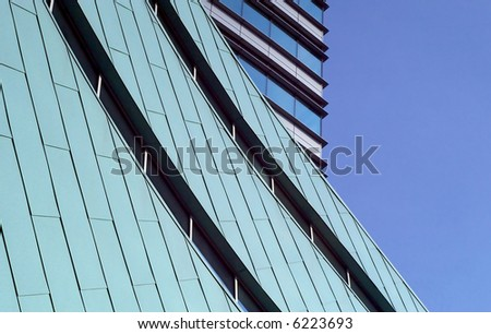 Green and blue office building architecture detail