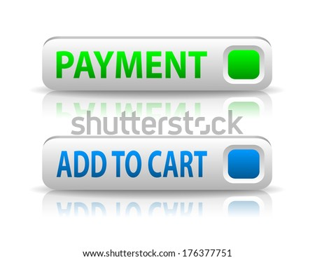 green and blue payment button with light shadow and reflection (raster version, available as vector too) - stock photo