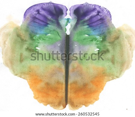 green and blue Rorschach test, watercolor, monotype, abstract colorful symmetric painting in color - stock photo