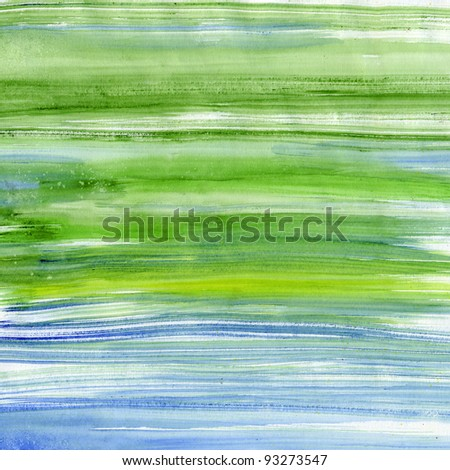 Green and blue stripes watercolor, scanned in high resolution  - stock photo