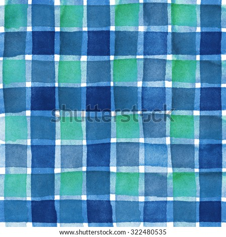 Green and blue Watercolor hand painted brush strokes, striped checkered background - stock photo