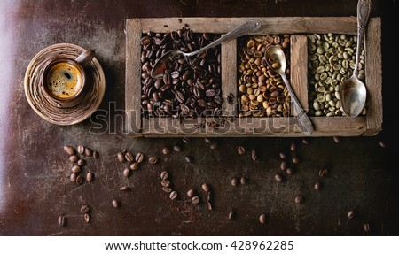 Green and brown decaf unroasted and black roasted coffee beans in old wooden box, and ceramic cup of fresh making coffee over dark brown textured background. Banner top view