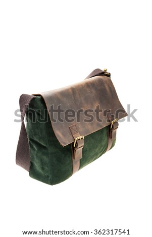 Green and brown satchel bag isolated on white background. - stock photo