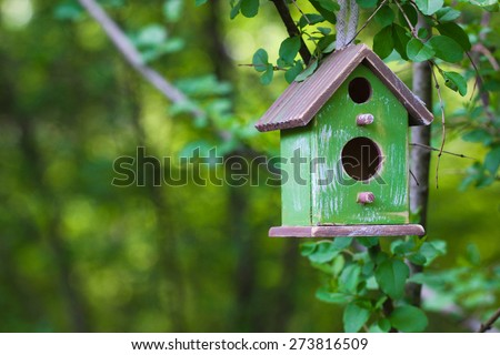 Green and brown wooden birdhouse hanging from tree with foliage blurred in background - stock photo