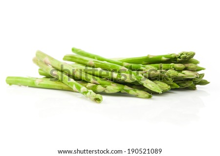 Green and fresh Asparagus Bundle on White Background - stock photo