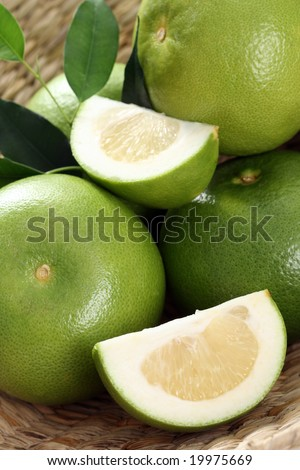 green and fresh grapefruits - food and drink