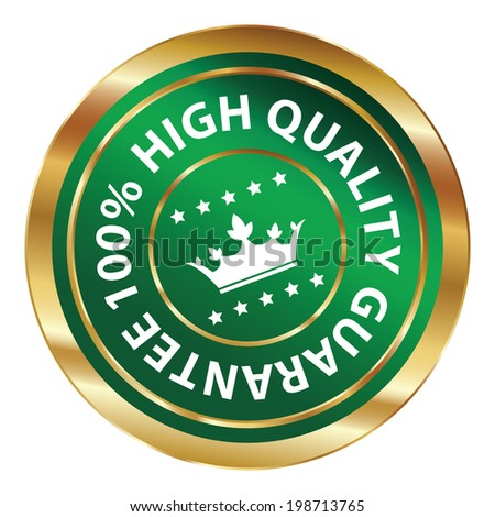 Green and Gold Circle Metallic 100 Percent High Quality Guarantee Icon, Button, Label or Sticker Isolated on White Background - stock photo
