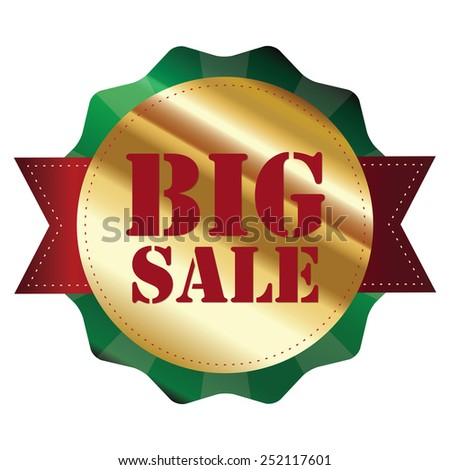 green and gold metallic big sale sticker, badge, icon, label isolated on white - stock photo