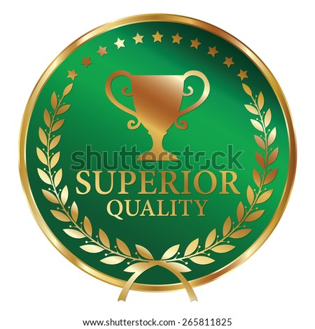 Green and Gold Metallic Superior Quality Label, Sticker, Banner, Sign or Icon Isolated on White Background - stock photo