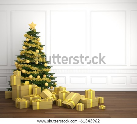 Green and golden christmas tree dacorated with a pile of presents in an empry white room, copy space placed right - stock photo