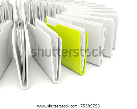 Green and grey folders isolated on white - stock photo