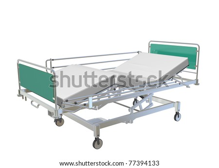 Green and grey mobile adjustable hospital bed with recliner and side guards, 3D illustration, isolated against a white background - stock photo