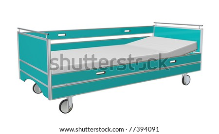 Green and grey mobile children's hospital bed with recliner and side guards, 3D illustration, isolated against a white background - stock photo