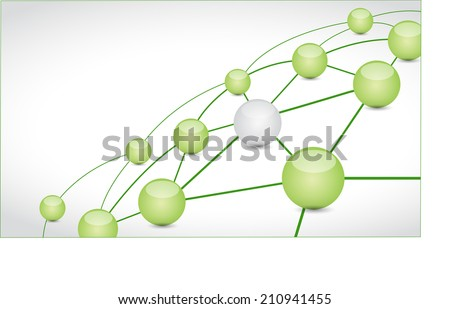 green and network connection illustration design over a white background - stock photo