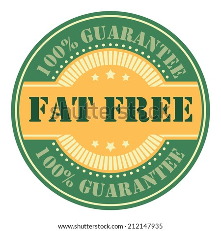Green and Orange Circle Vintage Fat Free Icon, Badge, Sticker or Label Isolated on White Background  - stock photo