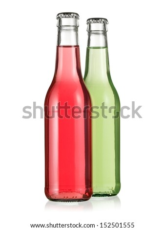 Green and pink alcohol beverage bottles