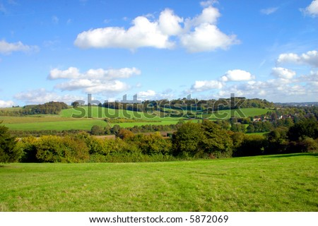Green and pleasant land of the Chiltern countryside in Buckinghamshire England - stock photo
