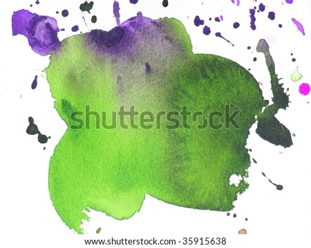 green and purple abstract paint background splash - stock photo