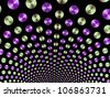 Green and Purple Fountain/Digital patterned image with a ball fountain design in green and purple on a black background. - stock photo