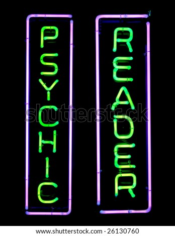 Green and purple psychic neon sign - stock photo
