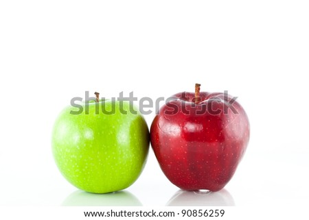 green and red apple Isolated on a white background. Image