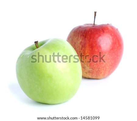 Green and red apple on white background