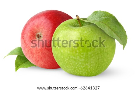 Green and red apple with leaves isolated on white - stock photo