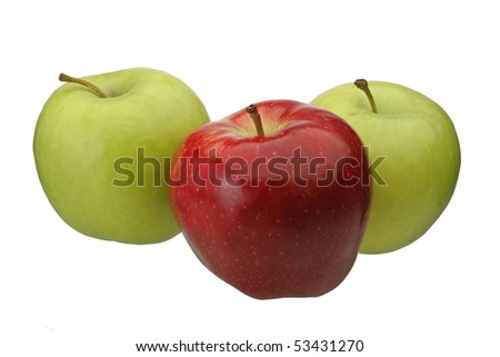 Green and Red apples isolated - stock photo