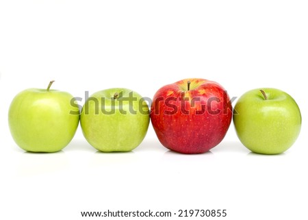 Green and red apples isolated on white background - stock photo