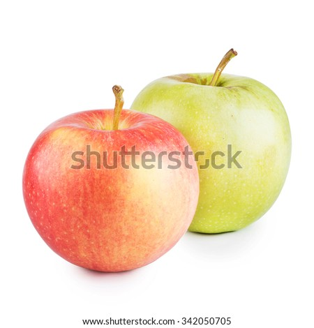 green and red apples. green and red apples isolated on white background r