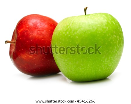 green and red apples. green and red apples on the white background. isolated. shallow dof o