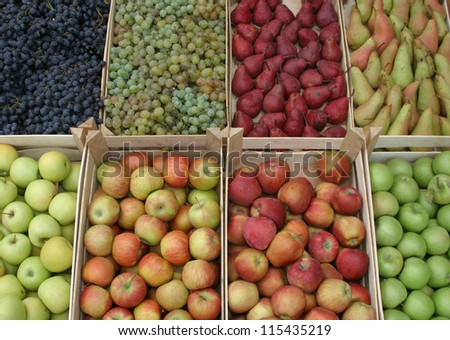 Green and red apples,pears and grapes - stock photo