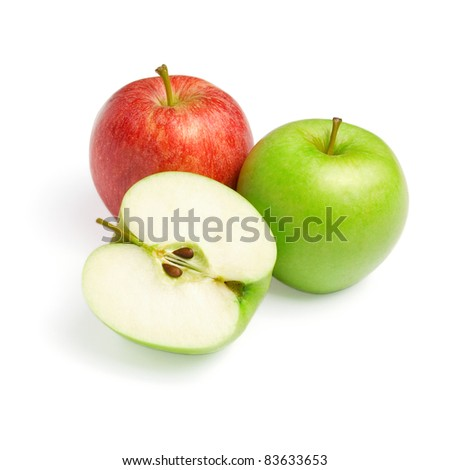 Green and Red Apples with Slice Isolated on White Background