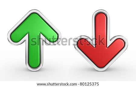 green and red arrow - 3d render - stock photo