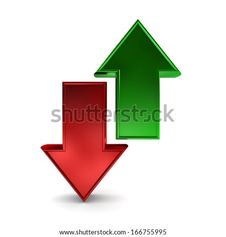 Green and red arrows pointing in opposite directions  - stock photo