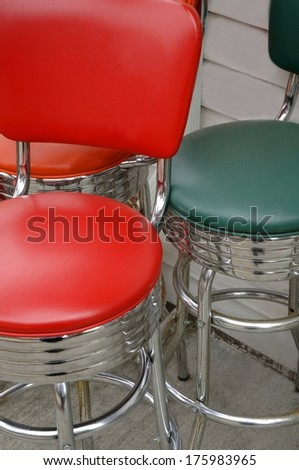 green and red bar stools