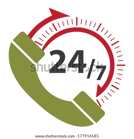 Green and Red 24/7 Call Center Icon, Badge, Label or Sticker for Customer Service, Support or CRM Concept Isolated on White Background  - stock photo