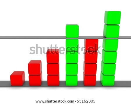 green and red 3D statistic chart graph isolated on white - stock photo